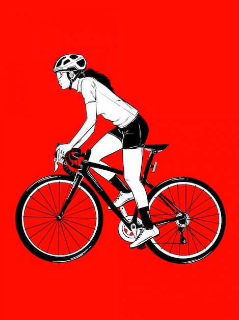 自転車の女の子 Premiumベクター