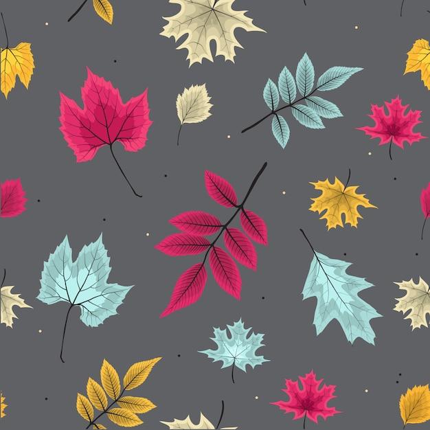 秋の落ち葉と抽象的なベクトルイラストシームレスパターン背景 Premiumベクター