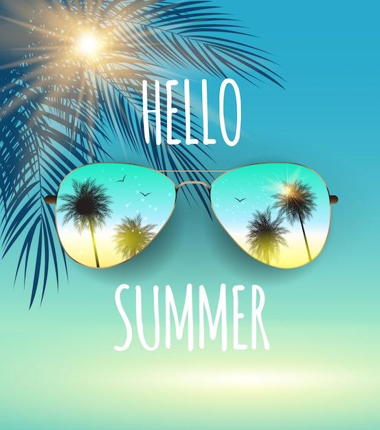 こんにちはガラスと手のひらで夏の背景。 Premiumベクター