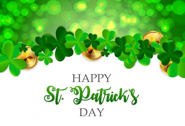 Поздравительная открытка с днем святого патрика с клеверными листьями Premium векторы
