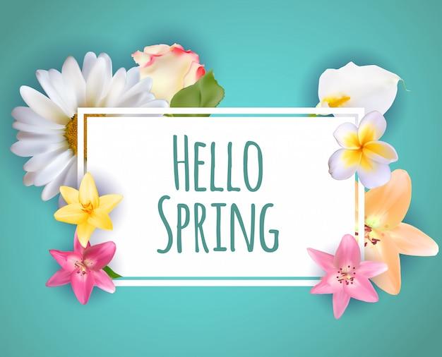 こんにちは春バナー挨拶デザインの背景にカラフルな花の要素。 Premiumベクター