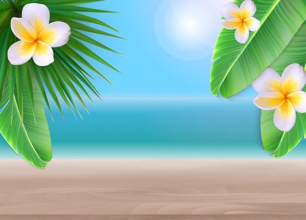 ヤシの葉と花のビーチの背景。ベクトルイラスト Premiumベクター