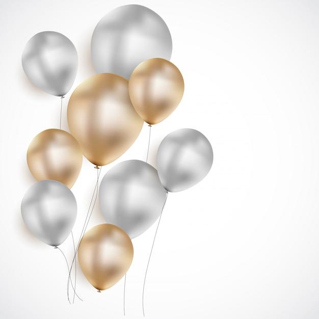 光沢のある誕生日用風船の背景 Premiumベクター