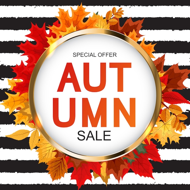 秋の落ち葉と抽象的な秋販売の背景 Premiumベクター