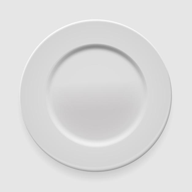 あなたのデザインの明るい背景に空の白い丸皿 Premiumベクター