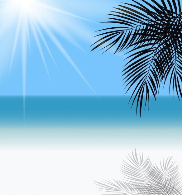 ヤシの葉と海の地平線の図 Premiumベクター