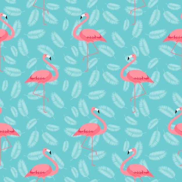 カラフルなピンクのフラミンゴのシームレスなパターン背景。 Premiumベクター