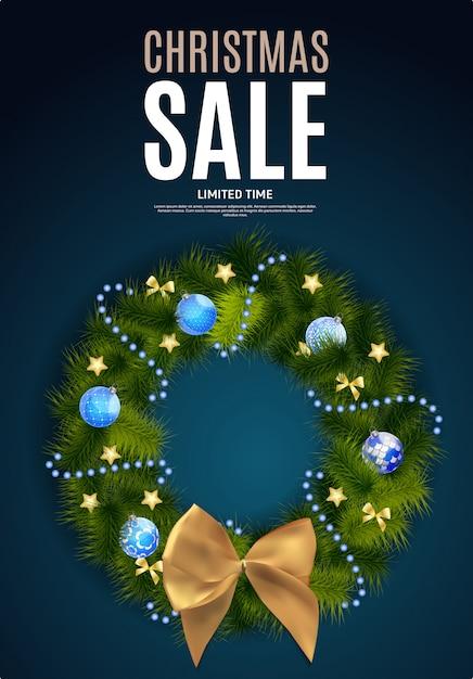 Рождество и новогодняя распродажа фон, шаблон купона на скидку Premium векторы