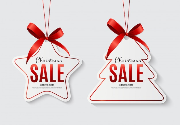 弓でクリスマスセールラベル Premiumベクター