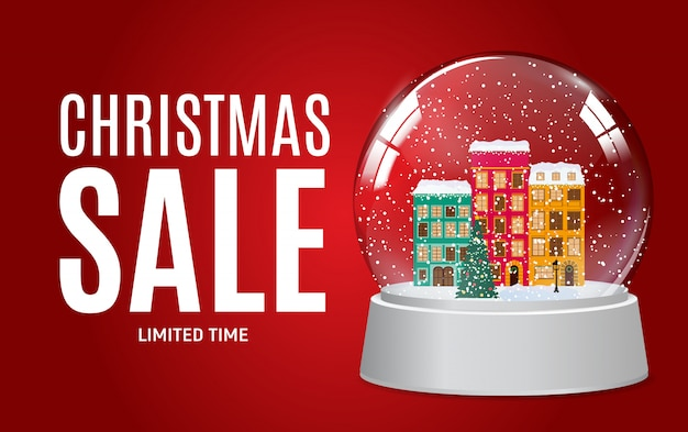 Рождественские и новогодние продажи подарочный сертификат, скидка купона шаблон векторная иллюстрация Premium векторы