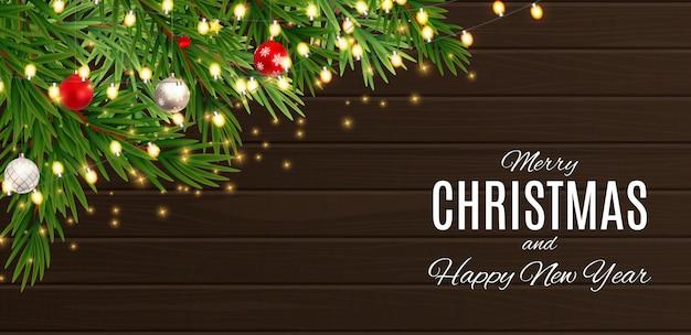 メリークリスマスと幸せな新年のポスター Premiumベクター