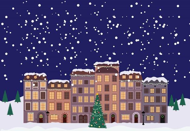 Зимнее рождество и новый год маленький городок в стиле ретро Premium векторы