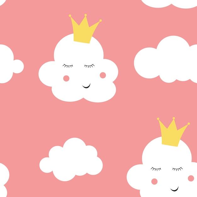 Детская бесшовный фон с облачной принцессой Premium векторы