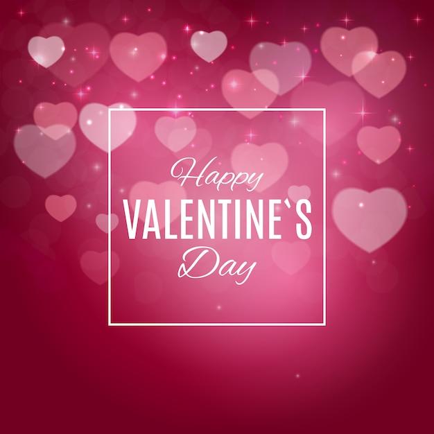 ピンクの囲炉裏と幸せなバレンタインのグリーティングカード Premiumベクター