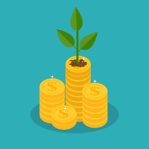 枝に金貨と金のなる木を成長しています。富とビジネスの成功。 Premiumベクター