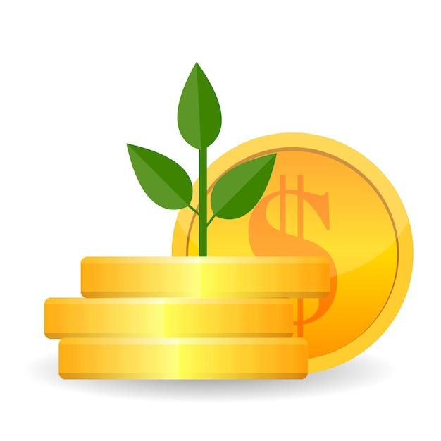 枝に金貨と金のなる木を成長しています。コンセプトの富とビジネスの成功。ベクトル図 Premiumベクター