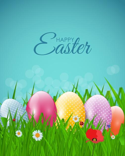 卵、草、花と自然ハッピーイースター Premiumベクター