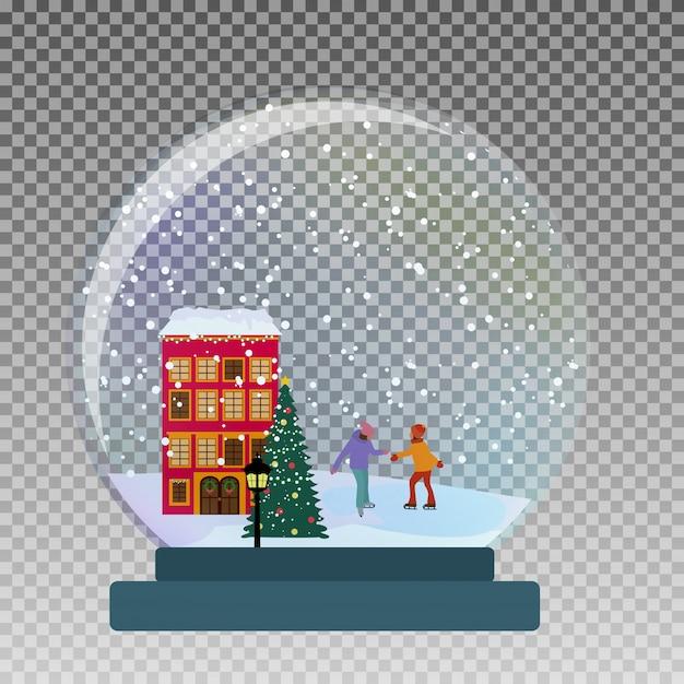 クリスマスと新年の贈り物のために冬にスケートで子供と雪のガラスグローブ。 Premiumベクター