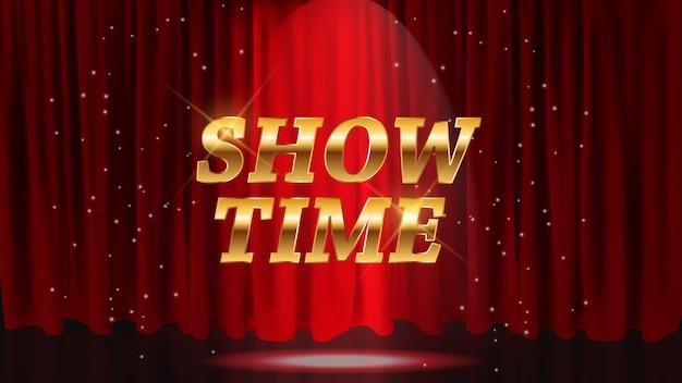赤いカーテンで時間の背景を表示します。図 Premiumベクター