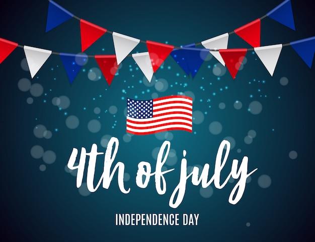 アメリカの独立記念日は、バナーやポスターとして使用できます。 Premiumベクター