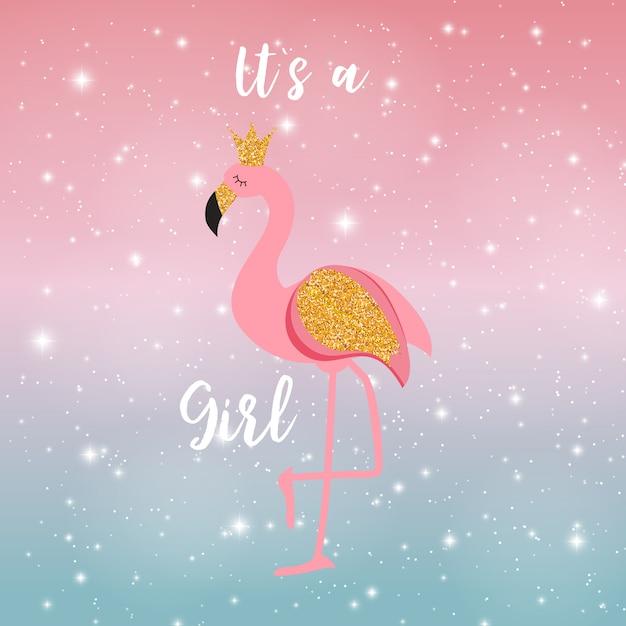 Это принцесса фламинго на ночном небе Premium векторы