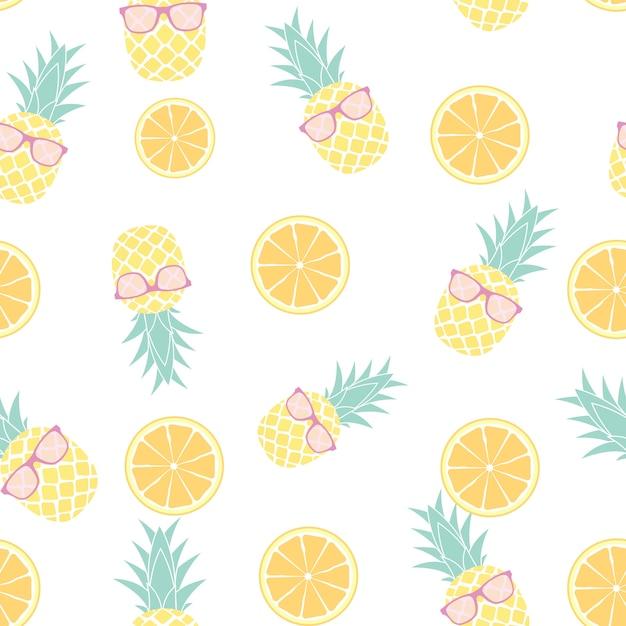 トロピカルフルーツパイナップルとオレンジ色のシームレスパターンデザイン。ベクトルイラスト Premiumベクター