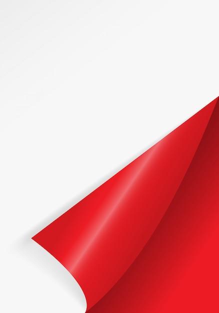 赤い色の自由な詰物のためのペーパー曲がった角。 Premiumベクター