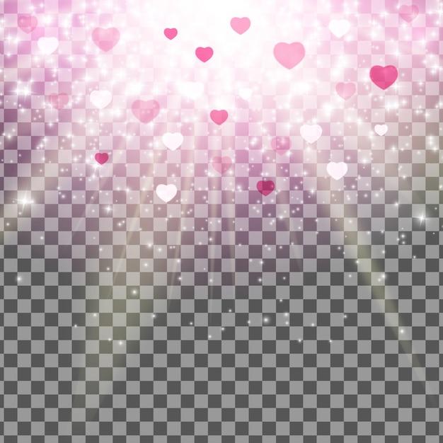 バレンタインデーの愛と感情の心のボケ味の光沢のある背景透明効果。 Premiumベクター