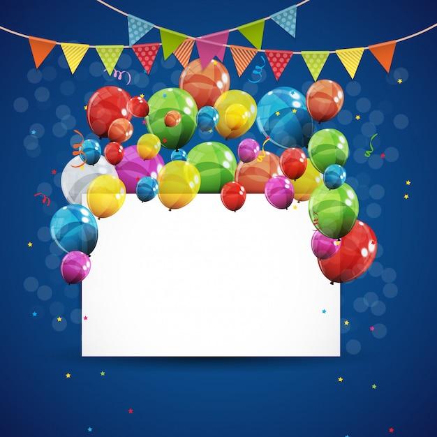 色の光沢のある誕生日用風船の背景のベクトルイラスト Premiumベクター