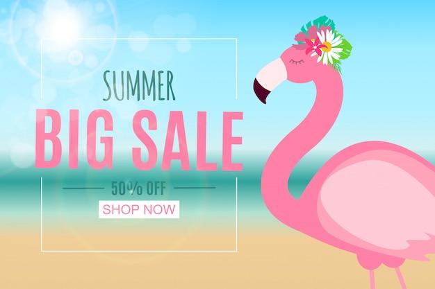 Абстрактная летняя распродажа баннер с фламинго. векторная иллюстрация Premium векторы
