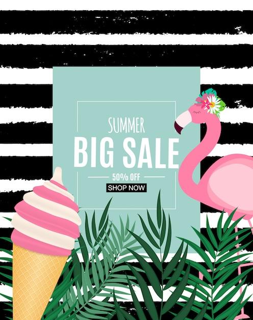Абстрактная летняя распродажа баннер с пальмовых листьев и фламинго. векторная иллюстрация Premium векторы
