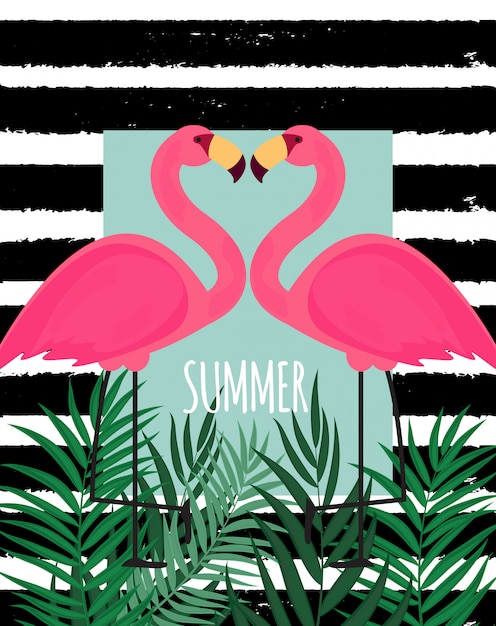 かわいいピンクのフラミンゴ夏の背景のベクトルイラスト Premiumベクター