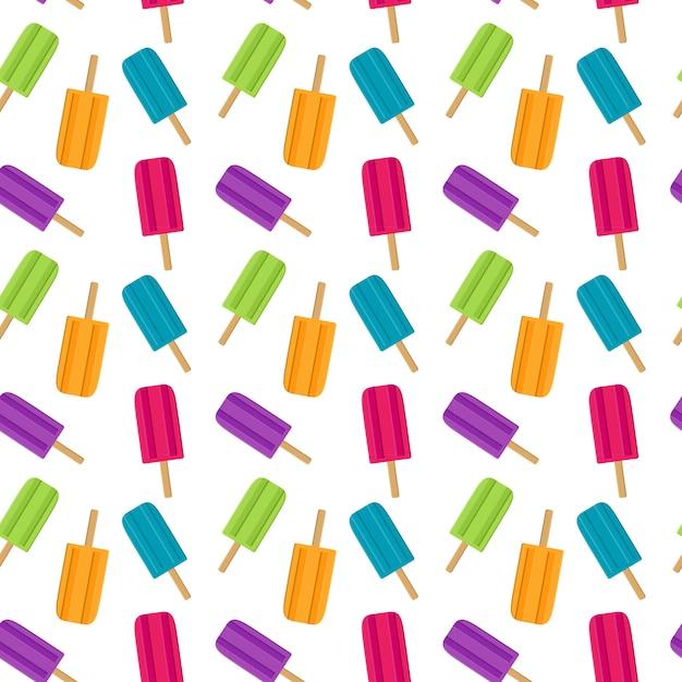 アイスクリームと抽象的な夏シームレスパターン。ベクトルイラスト Premiumベクター