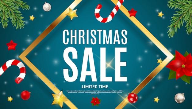 クリスマスと新年の販売の背景、割引クーポンテンプレート。 Premiumベクター