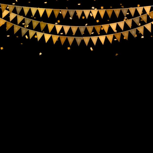旗と紙吹雪のパーティー Premiumベクター