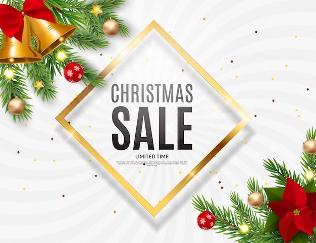 Рождество и новогодняя распродажа, шаблон купона на скидку. Premium векторы