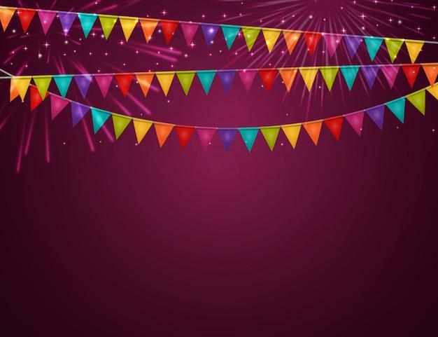 Вечеринка с флагами Premium векторы