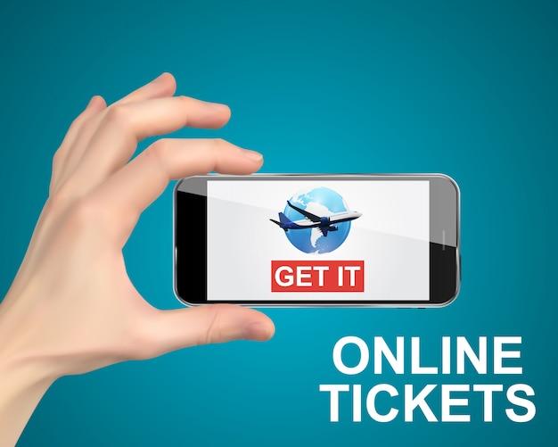 Рука держит мобильный телефон. купить авиабилеты онлайн концепции. Premium векторы