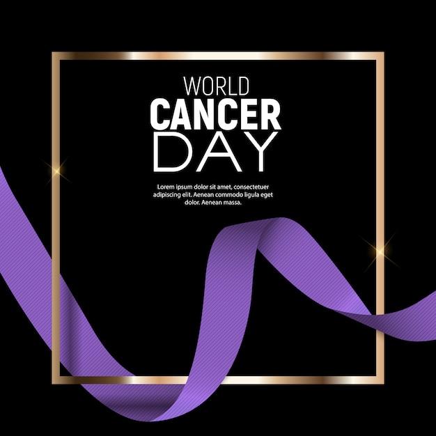 Всемирный день борьбы против рака с лавандовой лентой Premium векторы
