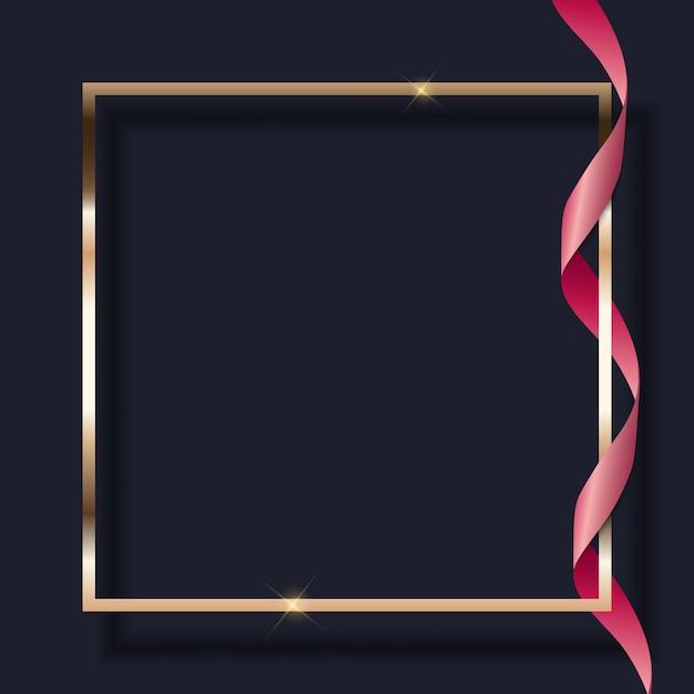 ピンクのリボンと暗い背景にゴールデンフレーム。 Premiumベクター