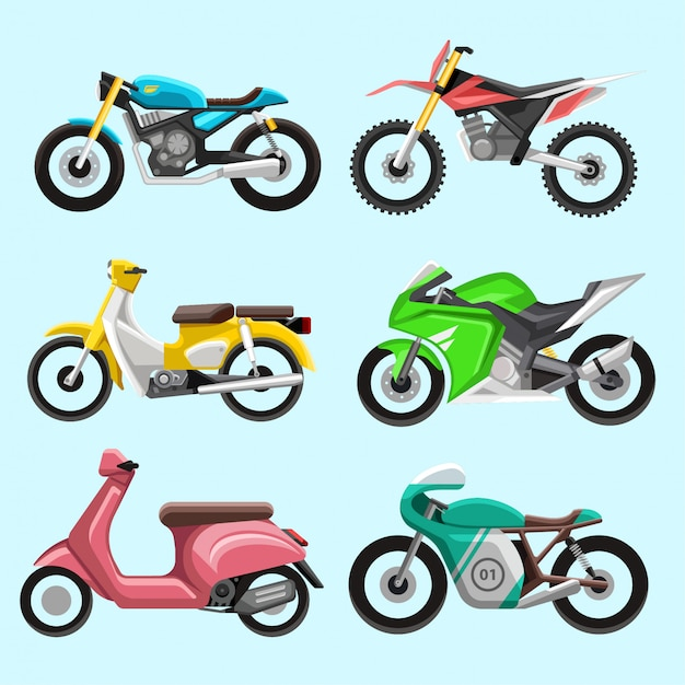 さまざまなオートバイのアイコンと要素のセット Premiumベクター