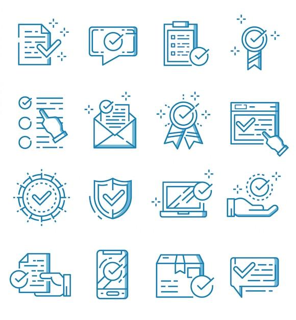 Набор галочек и утвержденных иконок в стиле структуры Premium векторы