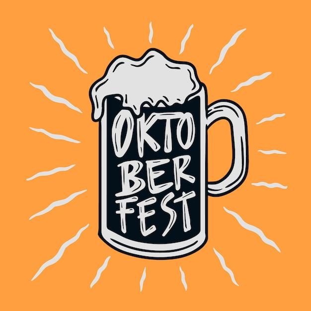 Ручной обращается ретро стакан пива октобер фест иллюстрация Premium векторы