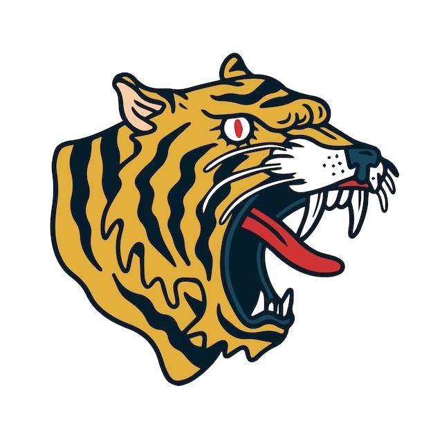 黄色の怒っている虎の古い学校の入れ墨 Premiumベクター