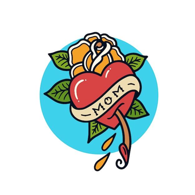 Нарисованная рукой иллюстрация татуировки старой школы влюбленности мамы Premium векторы