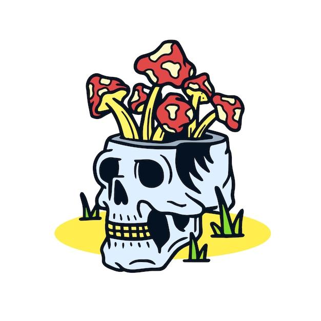 頭蓋骨の古い学校の入れ墨の図に描かれたキノコを手します。 Premiumベクター