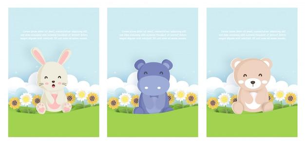 ウサギ、カバと動物テンプレートカードを設定し、誕生日カードの紙カードスタイルでクマ Premiumベクター