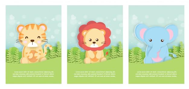 虎、ライオン、象の誕生日カードの紙カードスタイルの動物園動物テンプレートカードのセット Premiumベクター