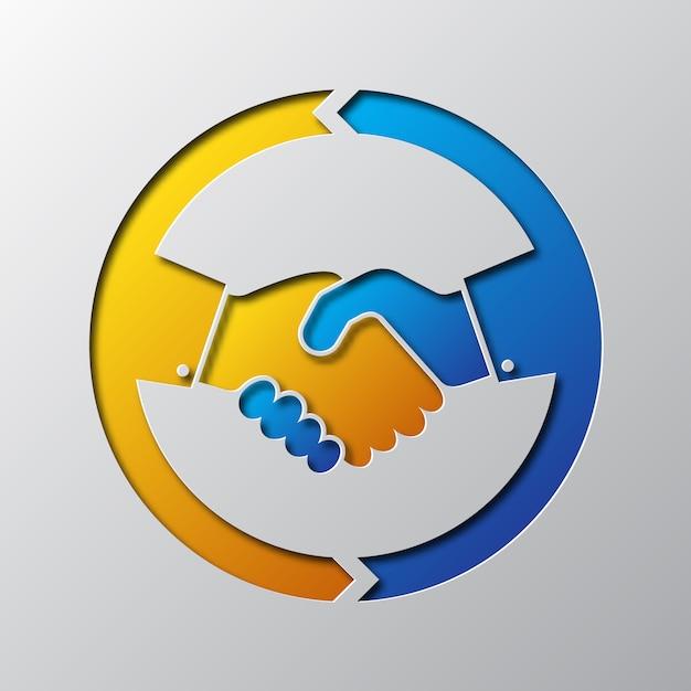 Искусство бумаги иконы рукопожатия. иллюстрации. Premium векторы