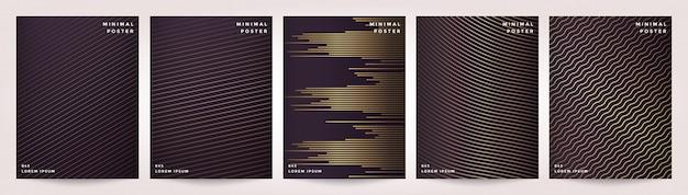 ゴールドスタイルのデザインで設定された抽象的な幾何学的なラインの背景。 Premiumベクター